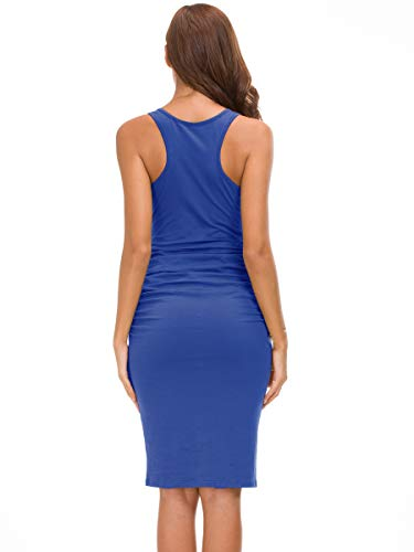 Missufe Women's Ruched Bodycon Sundress Midi Fitted