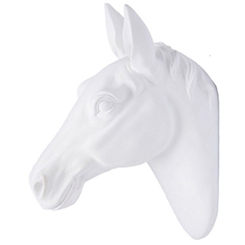 Horse Head by Wall Charmers | Silver Faux Head Mount Bust Fake Animal Resin Taxidermy Decorative Horse Head Mounted Replica Decor Art (White) ()