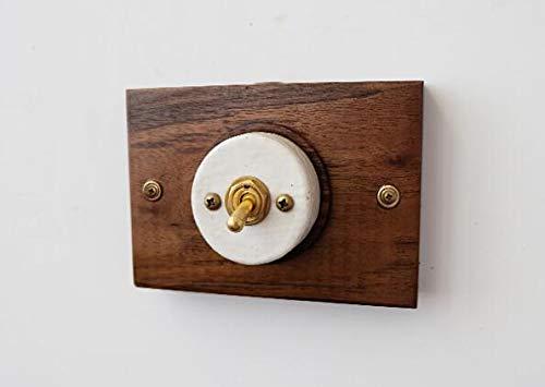 - Customized Retro Ceramic Switch Surface mounted Concealed Brass Ceramic Black Walnut Retro Art Deco LOFT Switch - (Color: 1 switch, Size: Surface mounted)