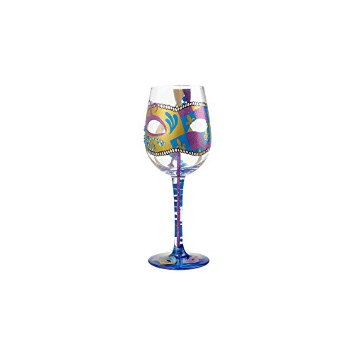 (Enesco Designs by Lolita Party Gras Artisan-blown Glass Wine Glass, 15 oz.)
