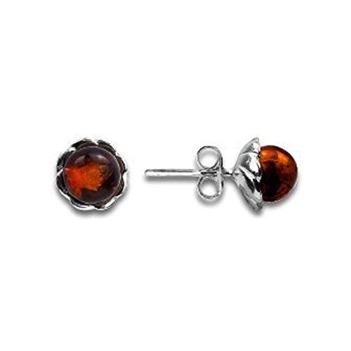 (Dark amber sterling silver stud earrings 0.8cm)