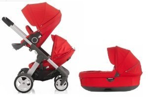 Stokke Crusi Stroller - Bassinet and Sibling Seat (Red)