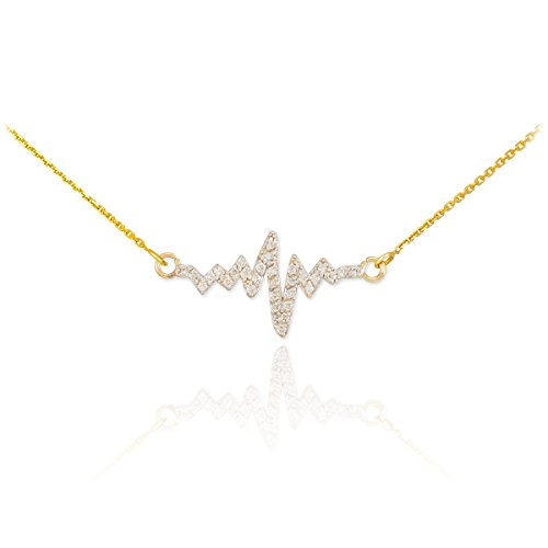 14k Yellow Gold Lifeline Pulse Pendant Heartbeat Necklace with Natural Diamonds, 16
