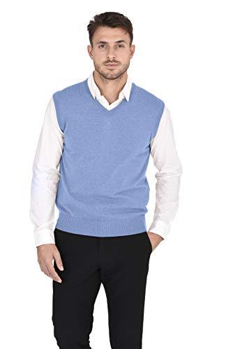 Vest V-neck Sweater Performance (Cashmeren Men's 100% Pure Cashmere Classic Knit Soft Regular Fit Casual Pullover Sweater Vest (Baby Blue, Large))