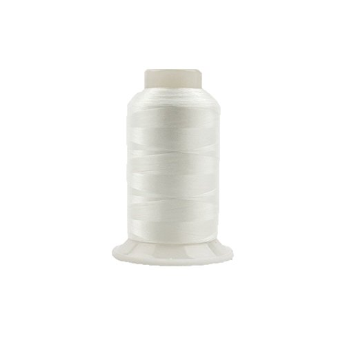 WonderFil InvisaFil Specialty Thread, 2-Ply Cottonized Soft Polyester, Silk-Like Thread for Fine Sewing, 100wt - White, 2500m
