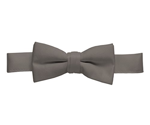 Floral Leather Suspenders - Hold'Em Bow Tie For Mens Boys and Baby Satin look Solid Color Adjustable Pre-tied Made in USA - Kids Grey