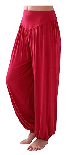 ARJOSA Women's Cotton Spandex Wide Leg Lounge Harem Yoga Pants (XL, Wine Red)