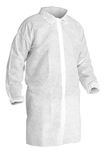 Disposable Lab Coats with Elastic Wrists, White (Case of 30) (Extra Large)
