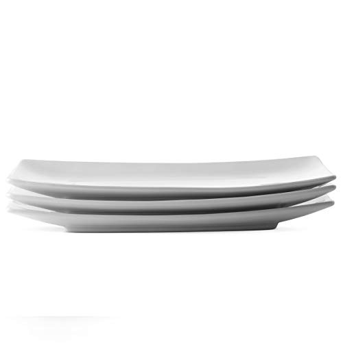 - KooK Serving Trays, Rectangular Platters, Ceramic, White 11.8 in, Set of 3