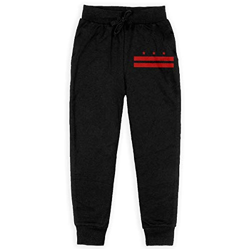 (Nm78kL&KU Men Casual Sweatpant, 100% Cotton Flag of Washington D.C. Running Pants for Youth Black)