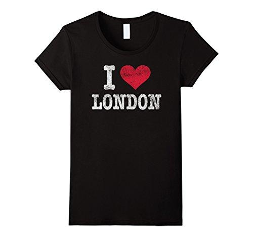 Womens Distressed Retro I Love London T Shirt Souvenir Gift Small - London Retro