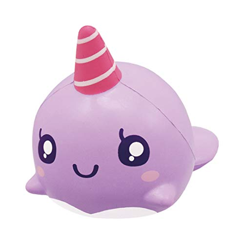 iBloom Slow Rising [Squishy Collection] Big Roxie The Whale Grape [Scented] Animal Squishy Kids Cute Adorable Doll Stress Relief Toy Decorative Props [Big]
