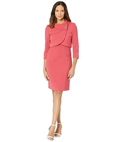 (Tahari by ASL Women's Jacket Dress with Envelope Collar Coral 16)