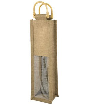 Natural Jute Wine Bags With Wooden Handles - 5 Pack