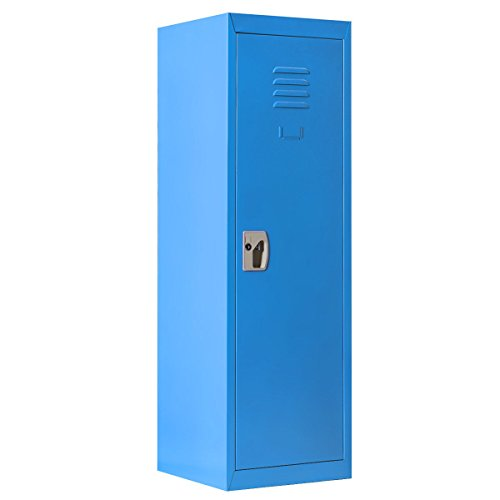 Costzon 48'' Kids Storage Locker, Single Tier Metal Locker, Lock and Key Safe Storage (Blue) by Costzon