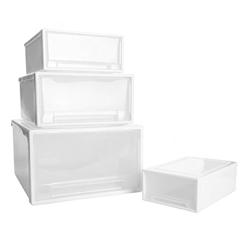 WitHome Clothes Stacking Drawer Pulls White Frame with Clear Drawer Plastic Bins Storage Cabinet Drawer Organizers Unit (XL+L+M+S)