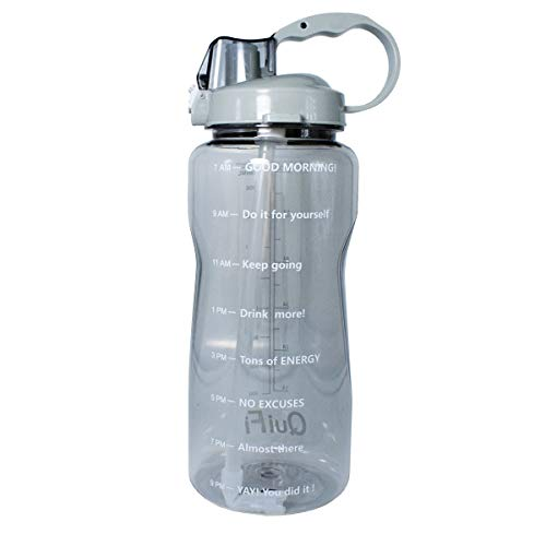 (BuildLife Motivational Gallon Water Bottle 64OZ/128OZ with Unique Timeline/Measurements/Goal Marked Times for Measuring Your Daily Water Intake, Large BPA Free Non-Toxic Water Jug (64OZ, 64OZ-Gray))