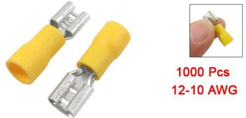 EbuyChX 1000 Piraso Yellow PVC Sleeve Insulating Spade Crimp Terminal Connector para sa 12-10 AWG
