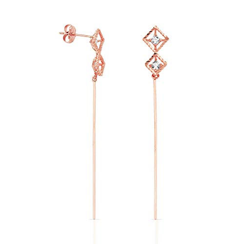 Real 14k Rose Gold Stud Earrings with 2 Open Diamond Shapes and Wire Dangle for Women