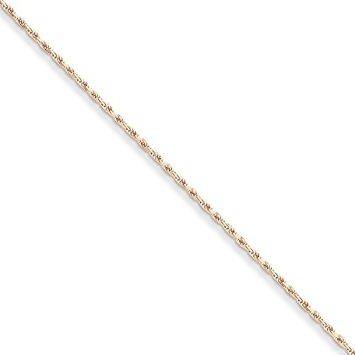 14kt Rose Gold 1.8mm Diamond-cut Rope Chain Anklet; 10 inch 14kt Diamond Cut Rope Bracelet