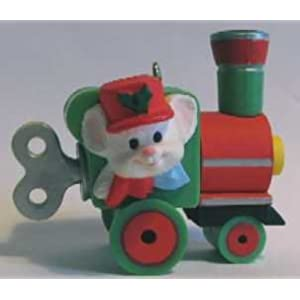 Engineering Mouse Christmas Ornament - Engineer Mouse on Toy Wind-up Train - Hallmark Keepsake 1985 Series