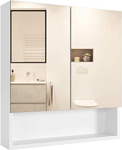Homfa Armario Bano con Espejo Armario de Pared Armario Cocina Colgante con 2 Puertas 3 Compartimentos Blanco 53x13x58cm