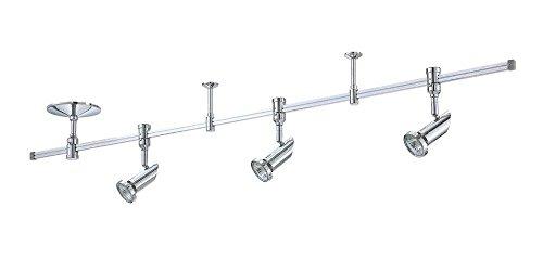 Kendal Lighting RK40-CH Cylinder 3-Light 4FT 120V Rail Lighting Kit, Chrome Finish