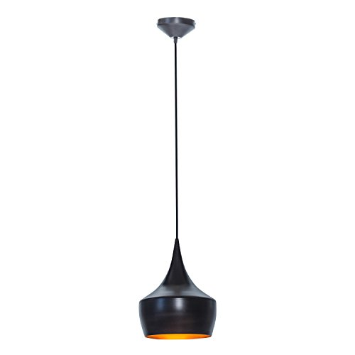 Globe Electric 1-Light Small Modern Industrial Pendant, Oil Rubbed Bronze, Gold Inner Finish, 1x A19 60W Bulb (sold separately), 63871 (Pendant Small Globe)