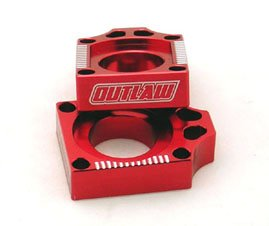 Outlaw Racing Billet Axle Blocks Red Yamaha by Outlaw Racing Products