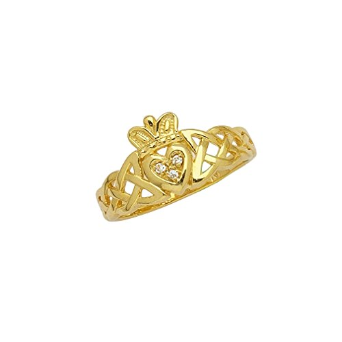 14k Yellow Gold Claddagh and Celtic Knot Band Ring with Genuine Diamond Accents