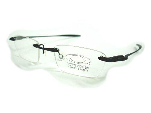 oakley reading glass frames  amazon: new oakley rx eyeglass titanium alloy frame \why 3\ black rimless 11 645: health & personal care