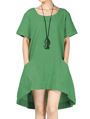 Mordenmiss Women's Cotton Linen Tunic Tops Hi-Low Dresses with Pockets (XXL, Green)