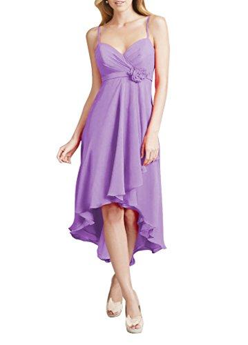 WeiYin Women's Hi-Lo Chiffon Flower Party Dress Lavender US18W