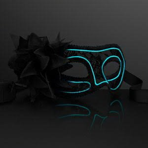 blinkee Electro Luminescent Wire Black Lace Party Mask by