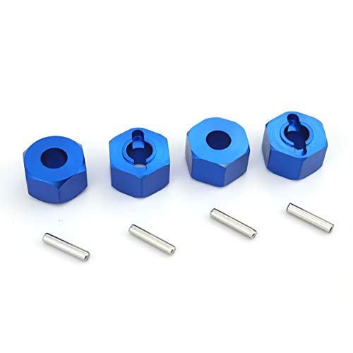 (Hosim Hex Wheel Hub Mount, 12x7x7 mm Aluminum with 2x10mm Pins for 1/10 Traxxas Slash 4x4 & HQ 727 RC Cars Replacement Upgrade Parts (Set of 4))