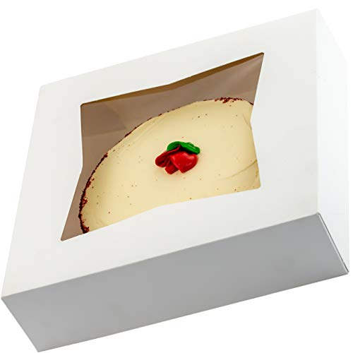 Gourmet 10in White Bakery Boxes 25 Pk. Cute Window Displays for Pies, Cakes, Cupcakes and Pastries. Transport Baked Goods with Sturdy, Easy-to Use Carriers. Give Sweet Holiday Gifts at Work or School