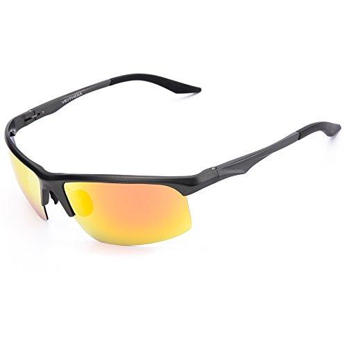 VEITHDIA 2364 Driving sport Polarized Sunglasses for Men Al-Mg Frame Ultra Ligh 100% UV Protection (Gun Frame/Orange Lens, - Online Polaroid Sunglasses
