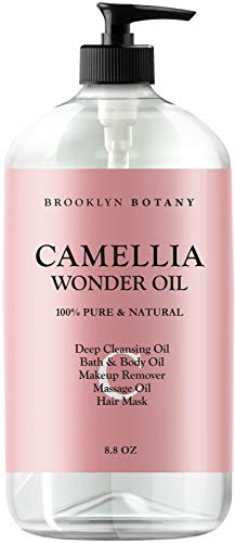 Oil Cleansing Body - Brooklyn Botany - Camellia Wonder Oil - 100% Pure & Natural - Deep Cleansing Oil, Bath & Body Oil, Makeup Remover, Massage Oil, Hair Mask - Ultra Lightweight 8.8 oz