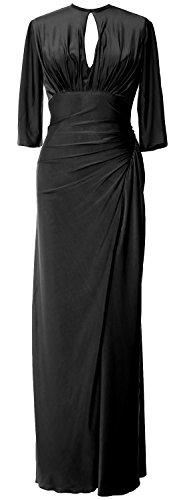 MACloth of Formal Evening Long Mother Gown Dress Black Half Jersey Sleeve Women Bride 1wRH1Uq