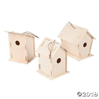 DIY Wooden Birdhouse Kits (Bulk Set of 12) Unfinished Paintable Bird House for Kids by Fun Express