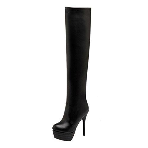 En Bottes Chaussures Noir Mi À L'hiver Mode Plateforme Avec Uh Et Haut Sexy Femmes Fourrure Pour mollet Aiguille Talons q6tRcHSfxw