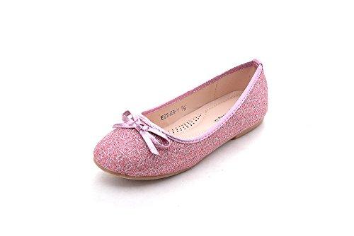 Mila Girls Little Kids Toddler Cute Comfortable Dress Flat Shoes (Esther-1) Pink2