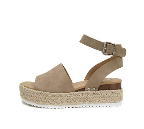 SODA Topic Open Toe Buckle Ankle Strap Espadrilles Flatform Wedge Casual Sandal (6.5, Dark Natural)