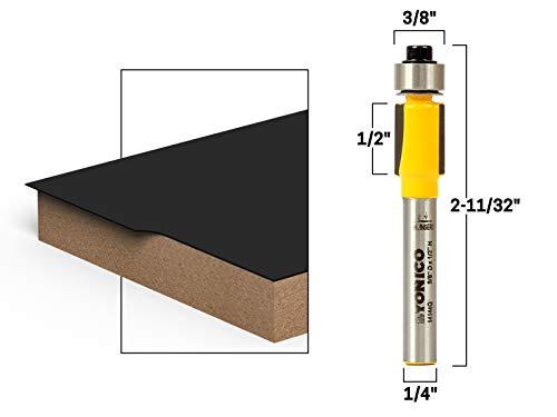 Yonico 14144q 1/2-Inch Height X 3/8-Inch Diameter Flush Trim Router Bit 1/4-Inch Shank ()