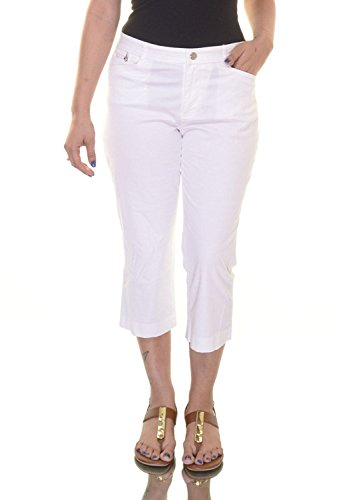 [Ralph Lauren Women's Stretch Twill Straight Leg Cropped Pants White Size 4] (Stretch Twill Straight Leg Cropped Pants)