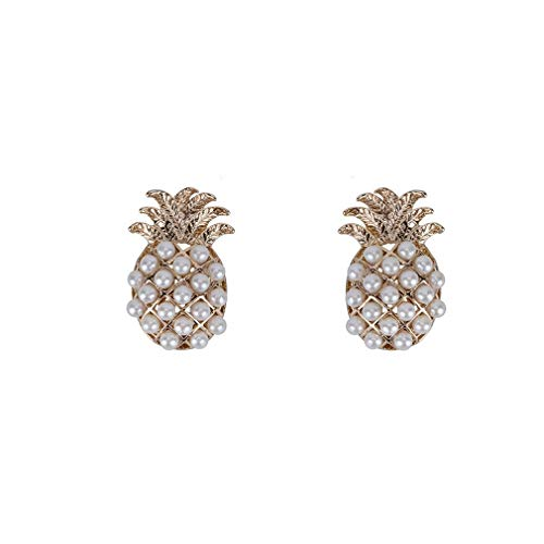 SOURBAN Pineapple Studs Earrings Fruit Shape Beads Earrings Hawaii Summer Beach Faux Pearl Studs Earrings
