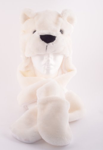 Plush Polar Bear Animal Hat with Scarf & Mittens (Bear Hat With Mittens)
