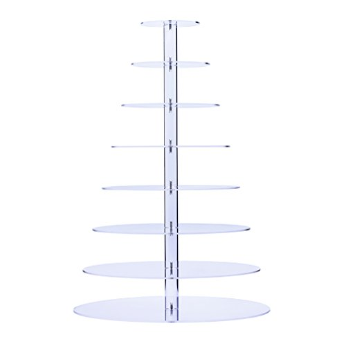 BonNoces Acrylic 8 Tier Round Cupcake stand/Cake and Dessert Tower-For Party Event (Cupcake Stands For 150 Cupcakes compare prices)