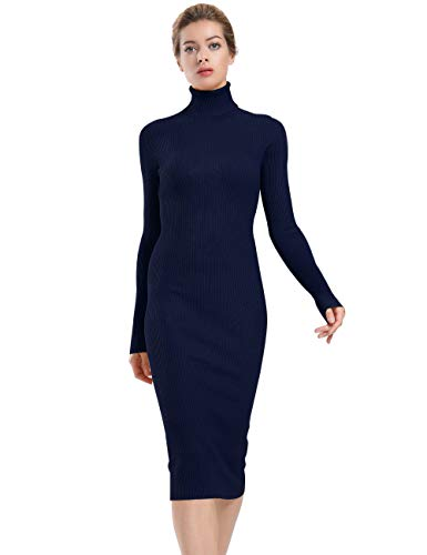ninovino Women's Turtleneck Ribbed Long Sleeve Body Wrap Midi Dress Deep Blue-M