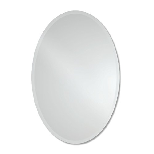 Large Frameless Beveled Oval Wall Mirror | Bathroom, Vanity, Bedroom Mirror | 24-inch x 36-inch (Vanity Bedroom Oval)